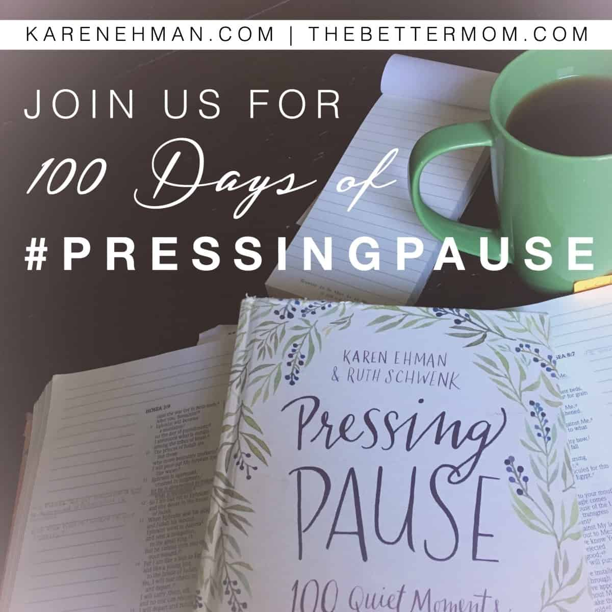 100 Days of Pressing Pause - a summer community for moms on Facebook with co-authors Karen Ehman and Ruth Schwenk (The Better Mom). Click here to join us.