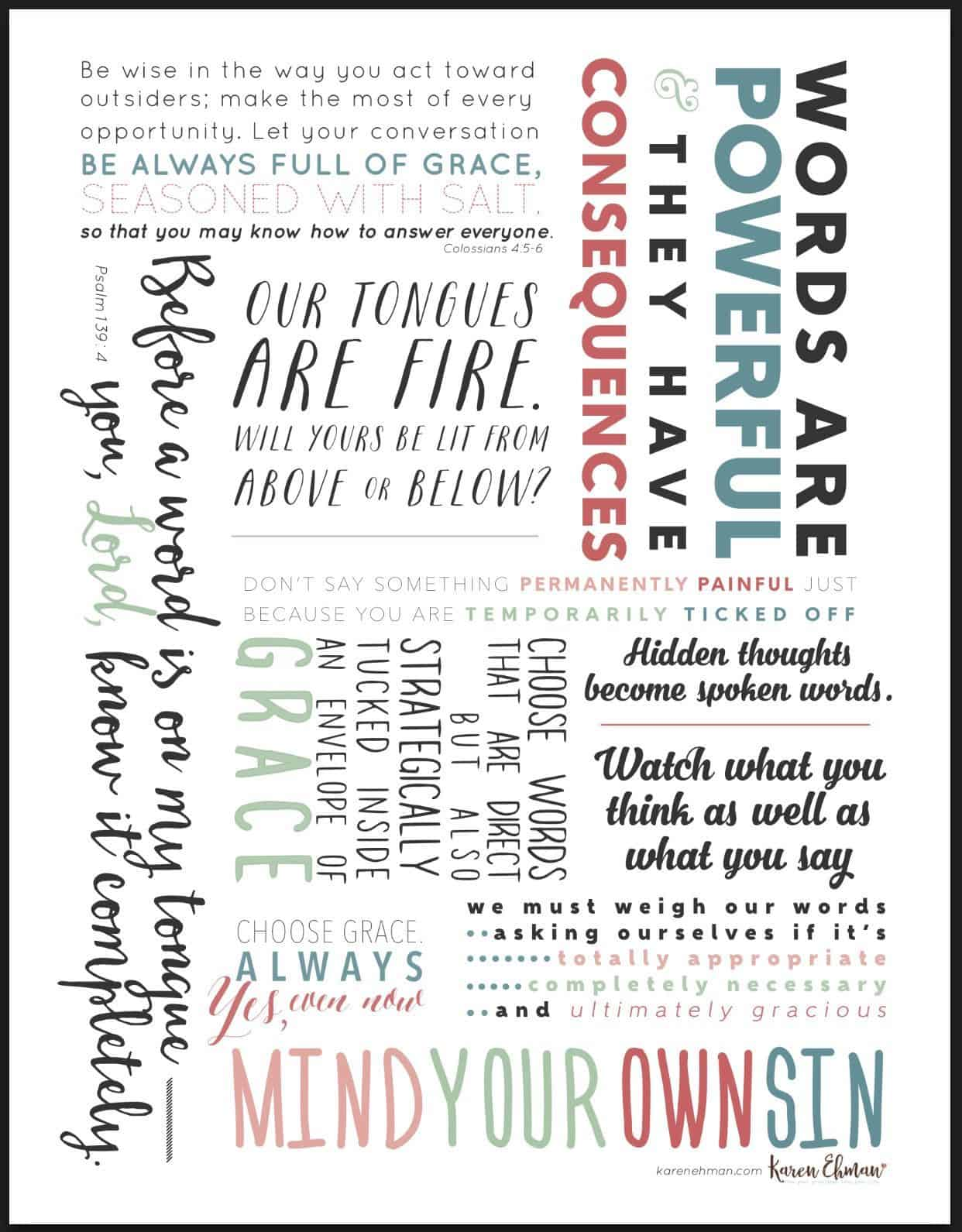 Lace your speech with grace with this FREE printable from Karen Ehman. Click here to download.