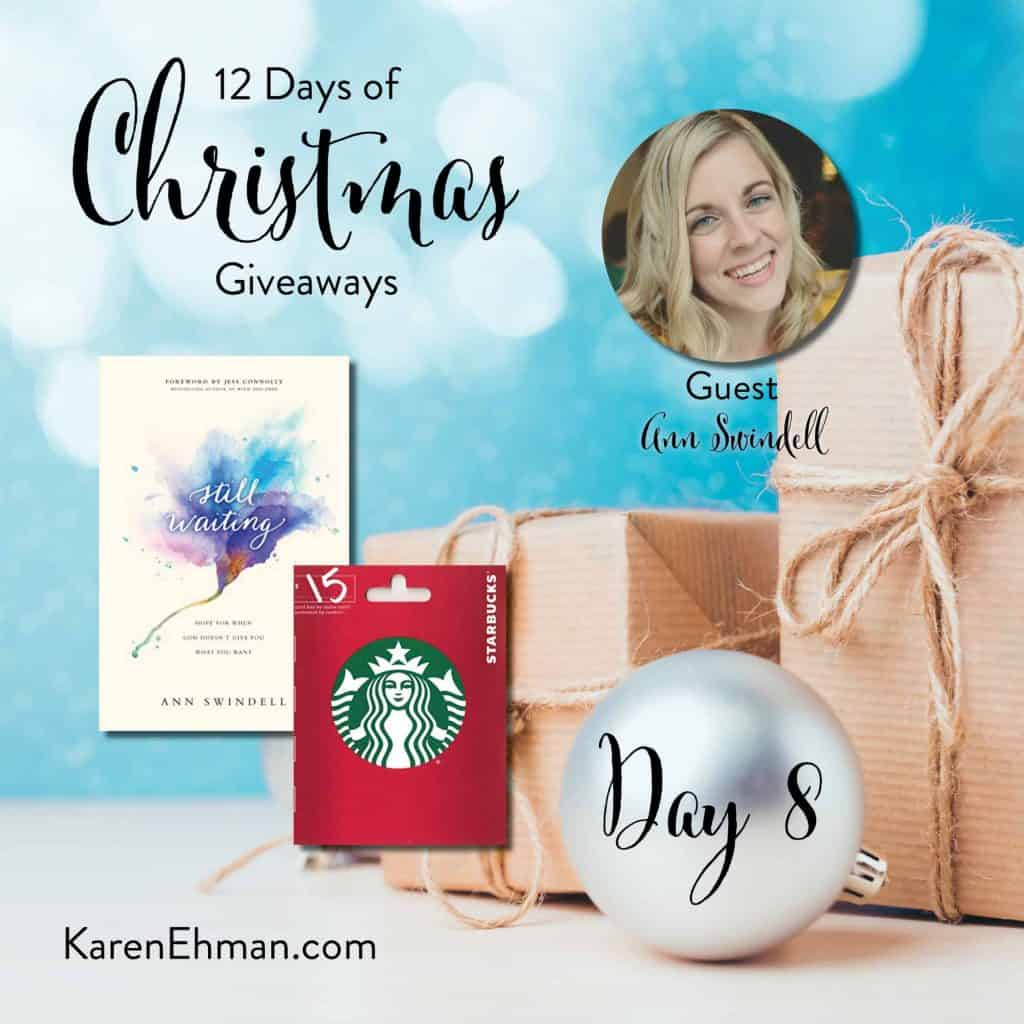 Enter to win Day 8 of 12 Days of Christmas Giveaways with Ann Swindell at karenehman.com.