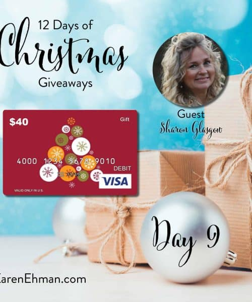Enter to win Day 9 of 12 Days of Christmas Giveaways with Sharon Glasgow at karenehman.com.