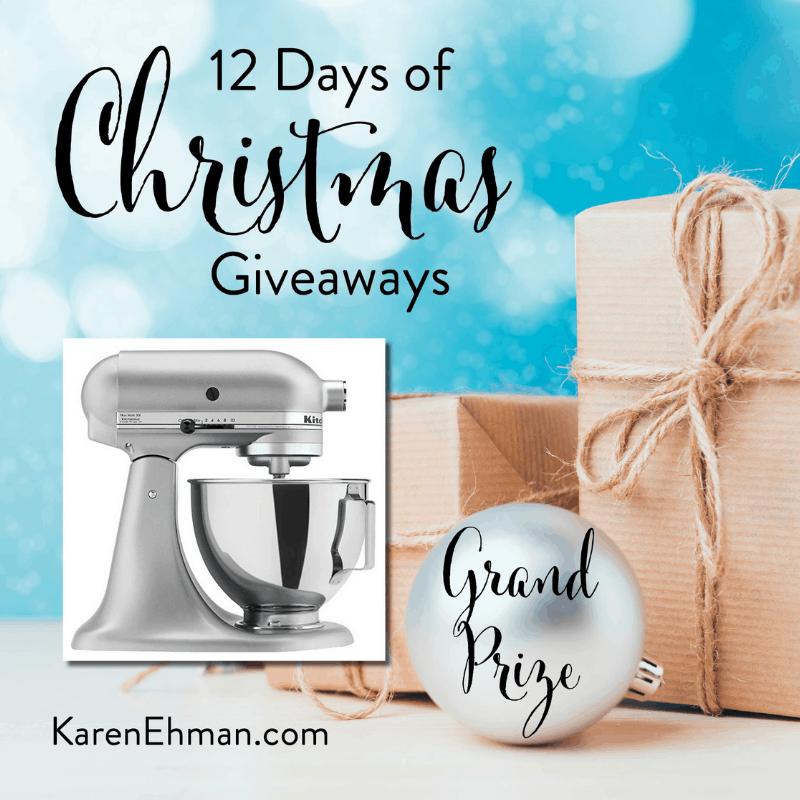 11th Annual 12 Days of Christmas Giveaways (2018) December 4-15 at karenehman.com.